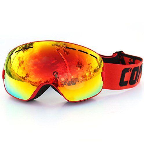 38f6776d4d COPOZZ Spherical Dual Lenses Anti-Fogging Professional Ski Goggles Winter  Snowboard w  Snowmobile Goggles Red