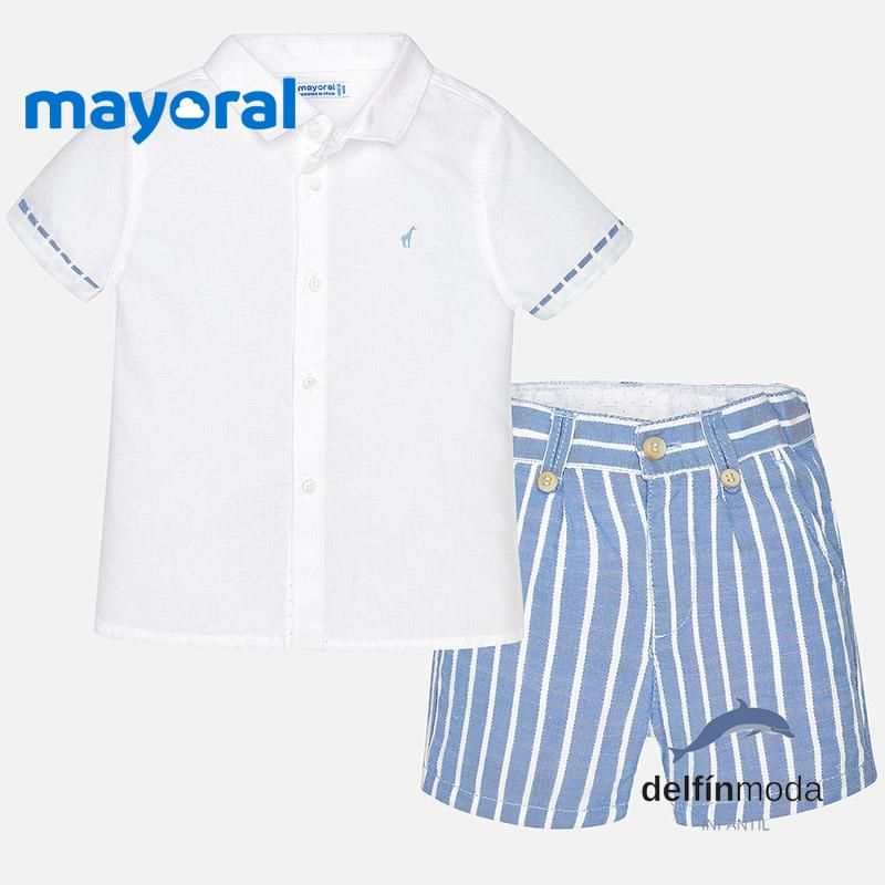 85a316c4a Conjunto de bebe MAYORAL para niño camisa y pantalón corto