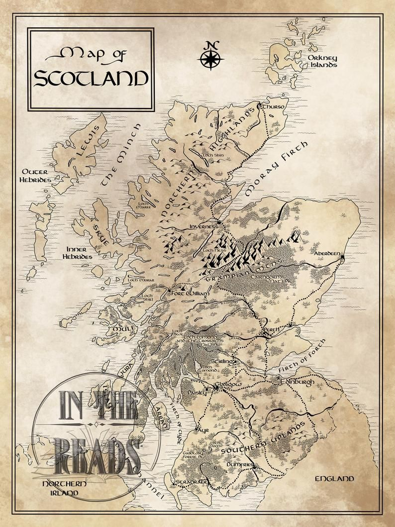 Scotland Map / Tolkien Inspired / Free US Shipping Etsy