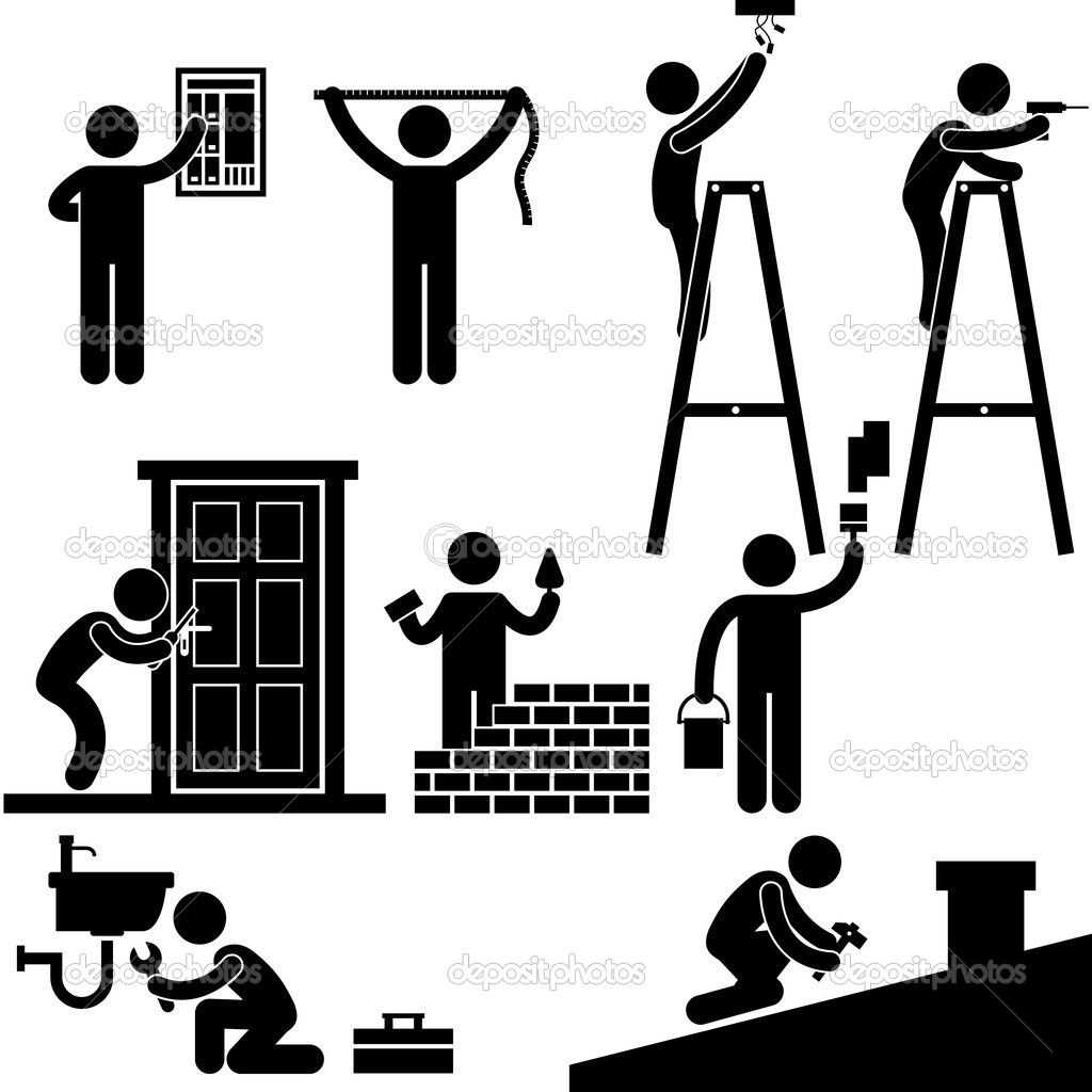 Handy man typical male roles pinterest pictogram symbols handyman electrician locksmith contractor working fixing repair house light roof icon symbol sign pictogram stock vector biocorpaavc Images