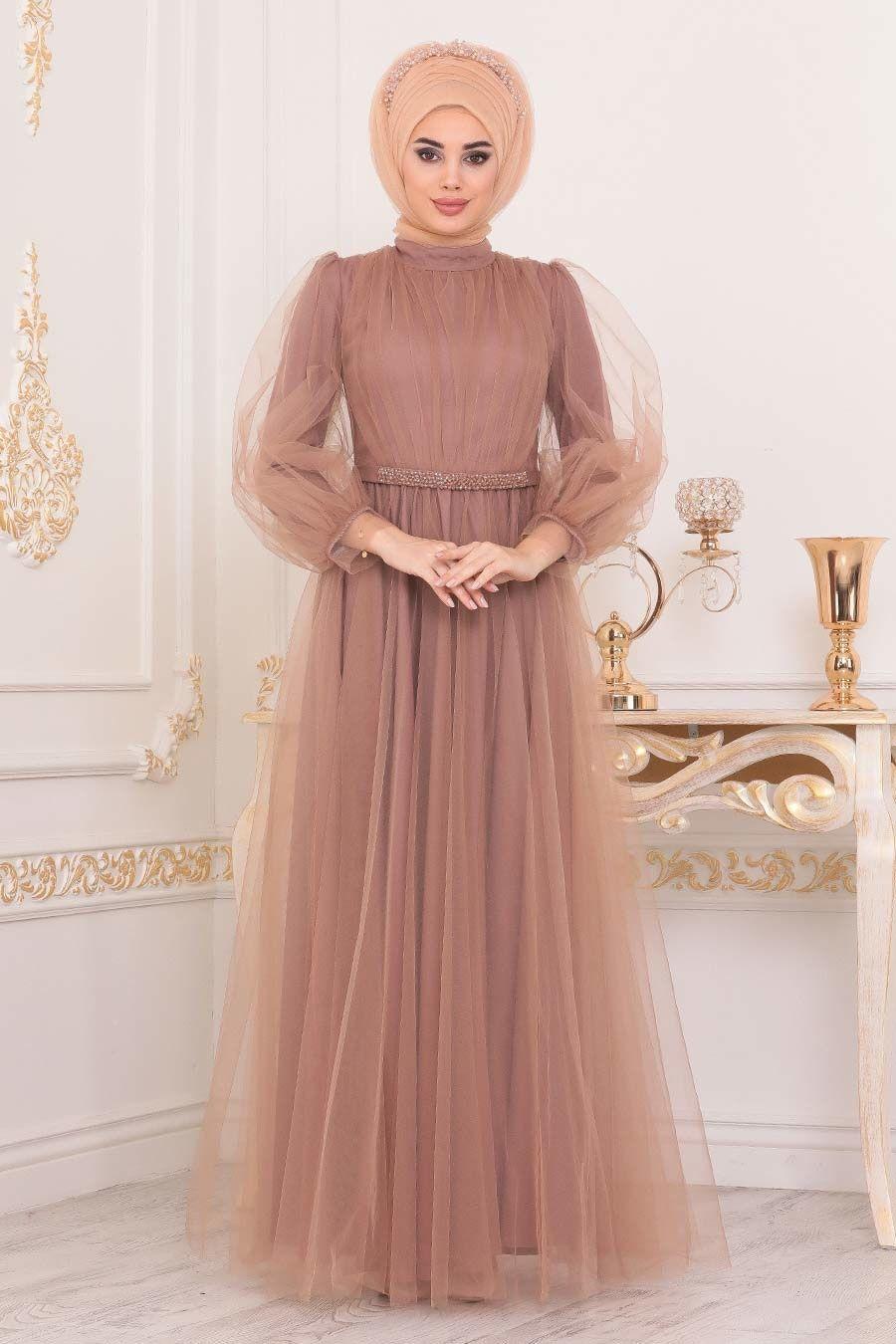 Tesetturlu Abiye Elbise Tullu Vizon Tesettur Abiye Elbise 40020v Tesetturisland Com 2020 Elbise The Dress Resmi Elbise