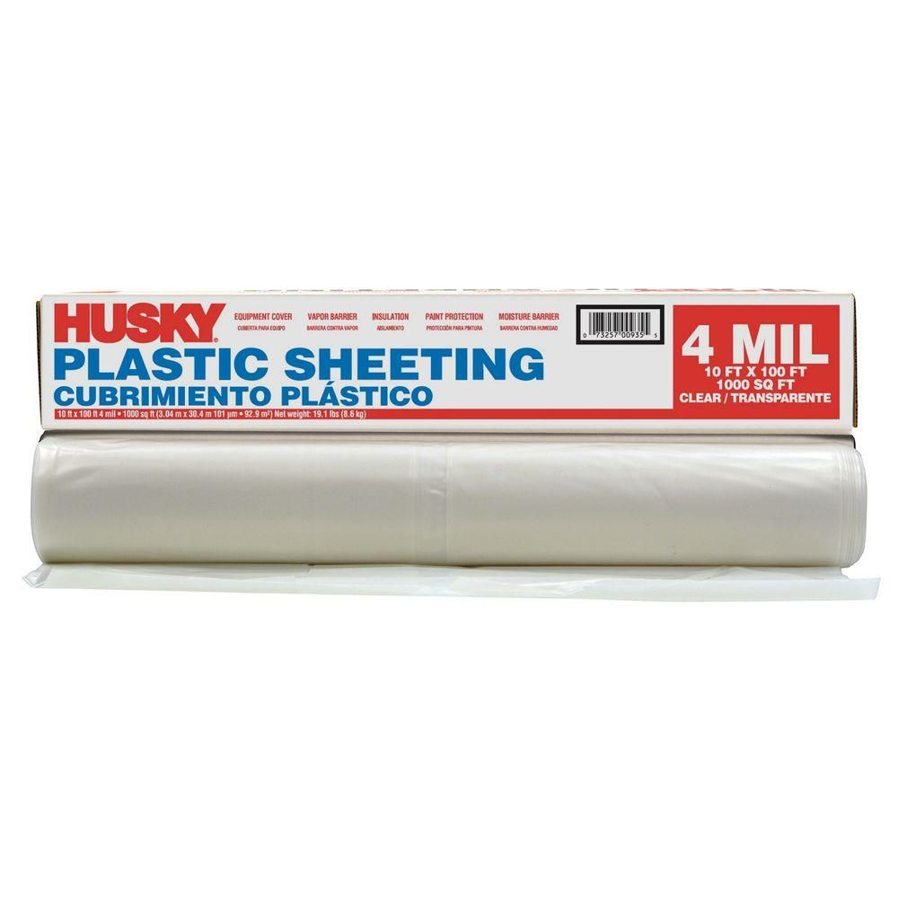 Husky 10 Ft X 100 Ft Clear 4 Mil Plastic Sheeting Cfhk0410c At The Home Depot Home Depot Plastic