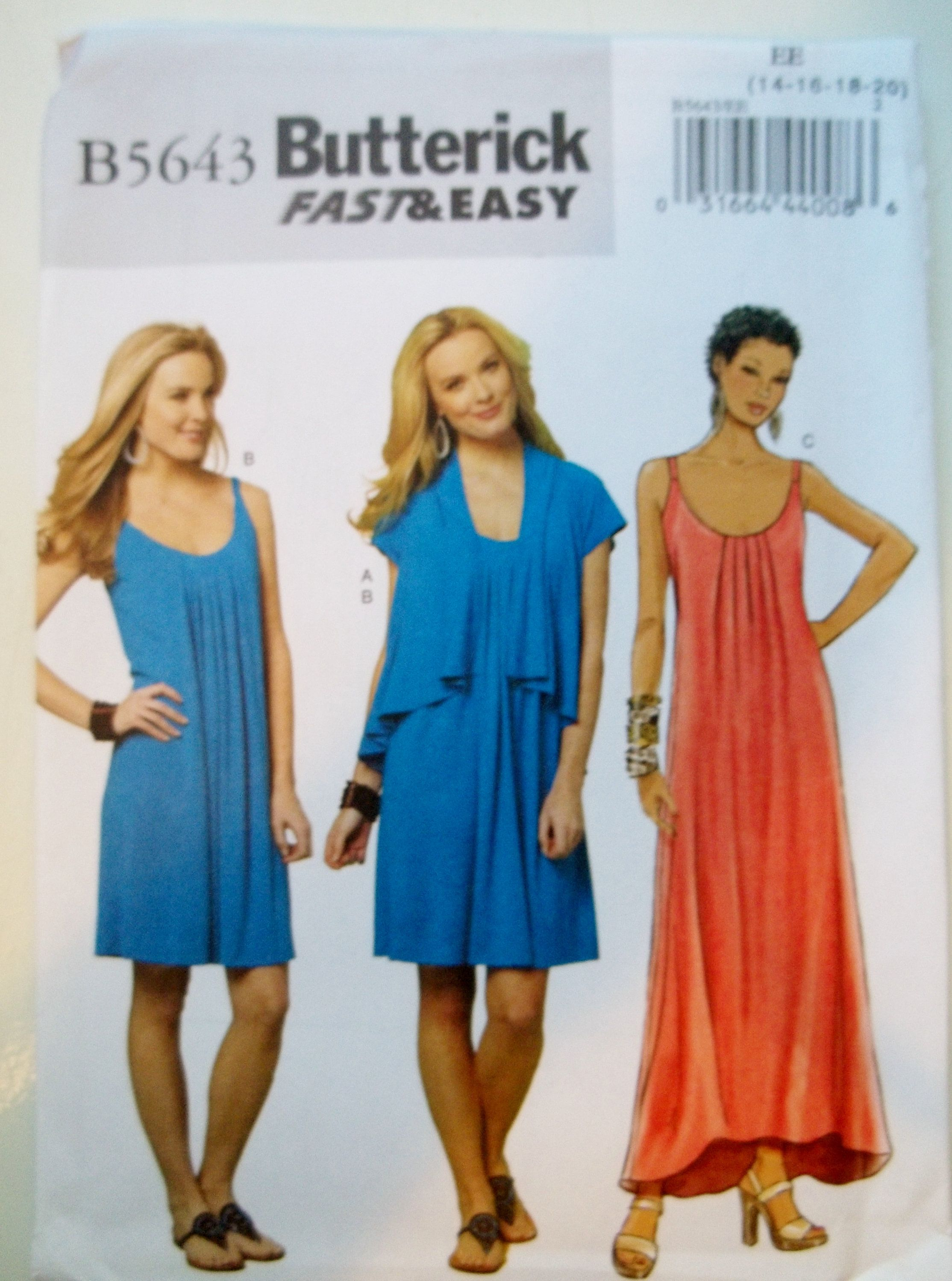 Misses Easy Summer Dress With Cascade Jacket Butterick B5643 Sewing Pattern Maxi Or A Summer Dress Patterns Simple Summer Dresses Summer Dress Sewing Patterns [ 3000 x 2228 Pixel ]