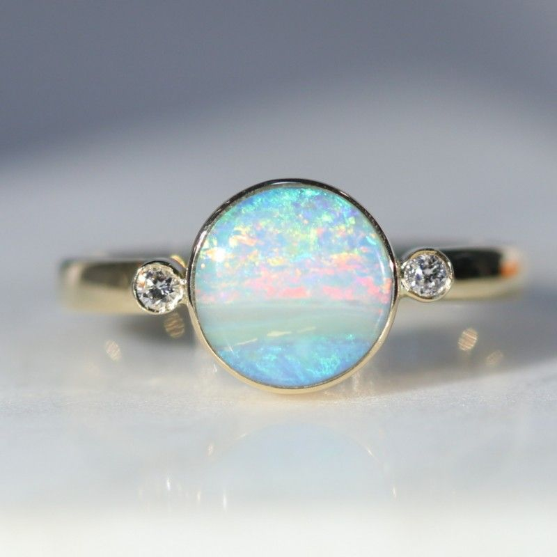 Beautiful Fire Boulder Opal Sterling Silver oval cabochon ladies ring size L
