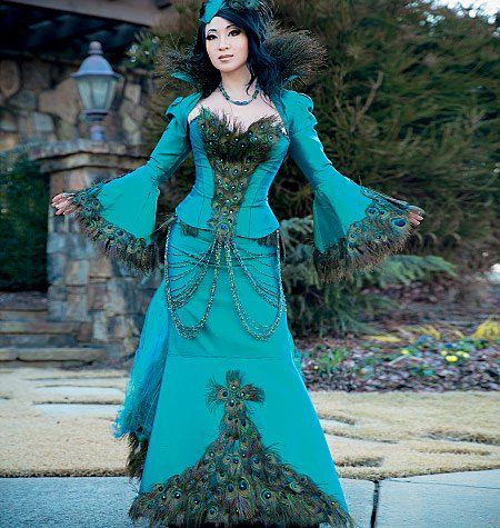 mccall's 7218 yaya han peacock jacket corset and skirt
