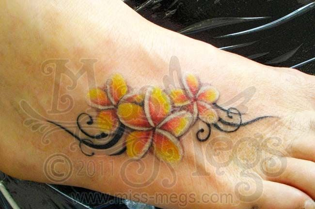 This Is An Idea To Either Fix My Ankle Or Cover Up My Wrist Tattoo Cause The Wrist Tattoo Of My Son Tribal Foot Tattoos Plumeria Flower Tattoos Plumeria Tattoo