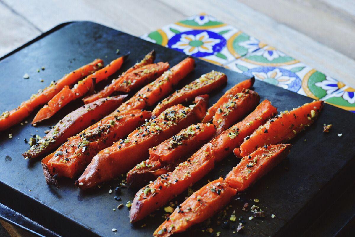 Dukkah roasted sweet potato fries roasted sweet potatoes potato dukkah roasted sweet potato fries whole food recipeswhole forumfinder Images