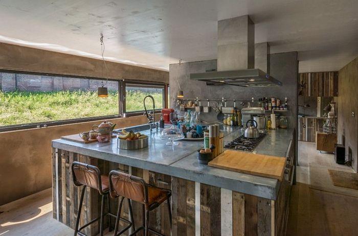 Küche industrieller stil kücheninsel barhocker fenster