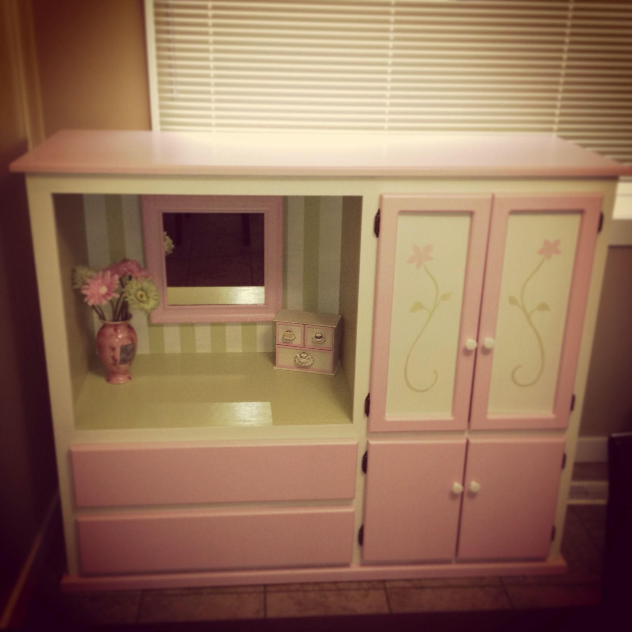 Up Cycled Tv Cabinet Into Children S Vanity Wardrobe Kid