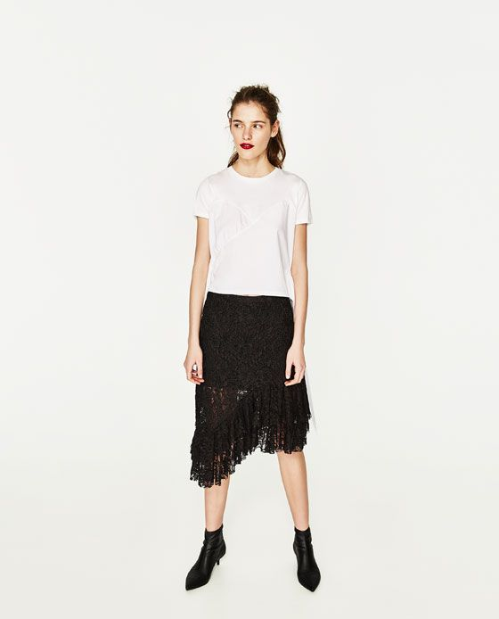 d85382188 FALDA ENCAJE VOLANTES   My Style   Zara, Skirts, Lace skirt