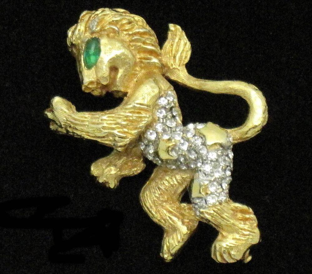 KJL 1960s Kenneth Jay Lane Gold Plated  Mythological Fantasy Griffin Brooch Pin #KJLKennethJayLane