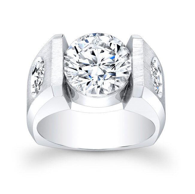 Men's Platinum wedding band 0.25 ctw G-VS2 (side) diamonds with 2ct White Sapphire center by EVSdesign on Etsy https://www.etsy.com/listing/163986767/mens-platinum-wedding-band-025-ctw-g-vs2