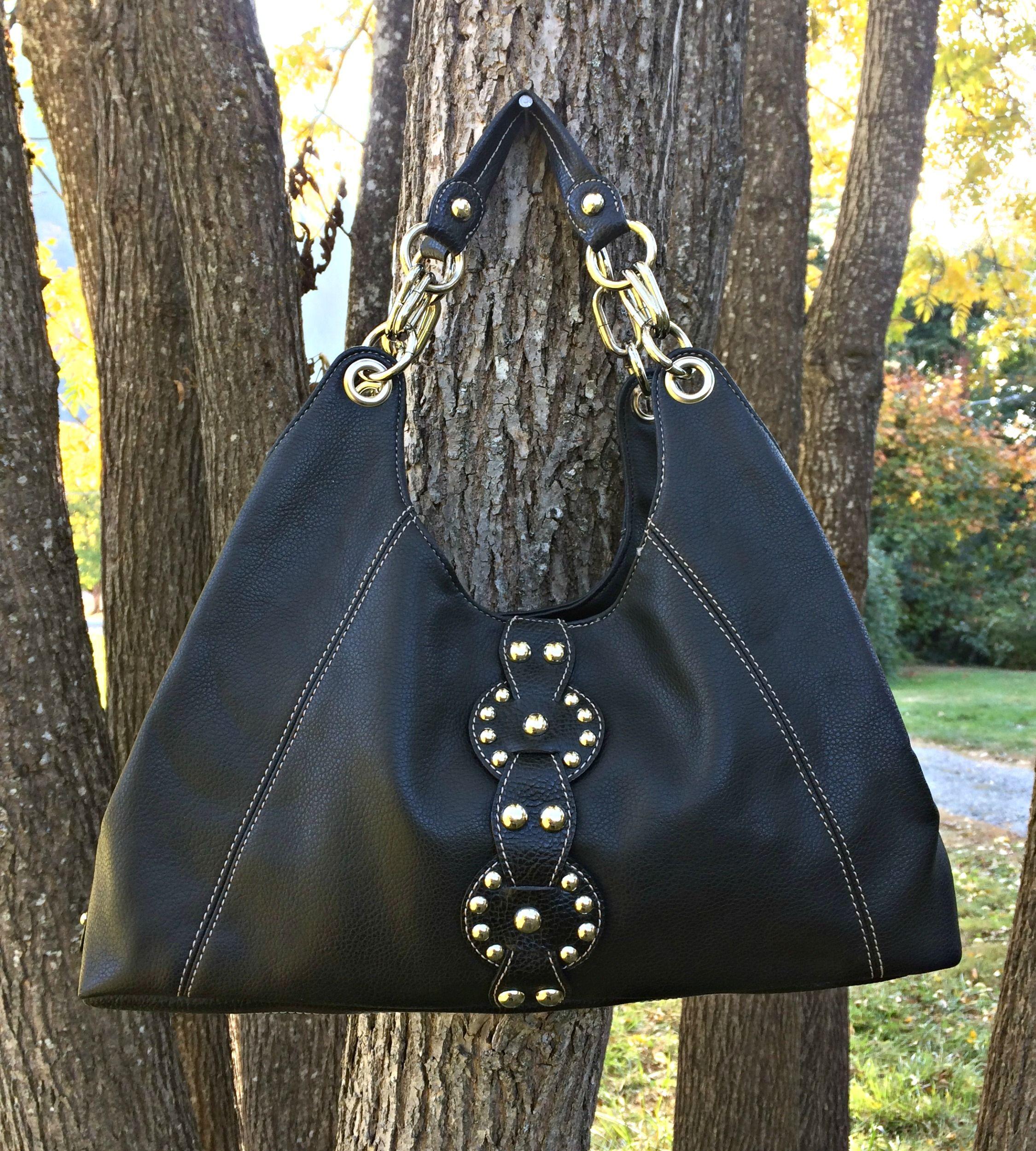 Black Leather Purse Handbag Faux With Silver Tone Hardware