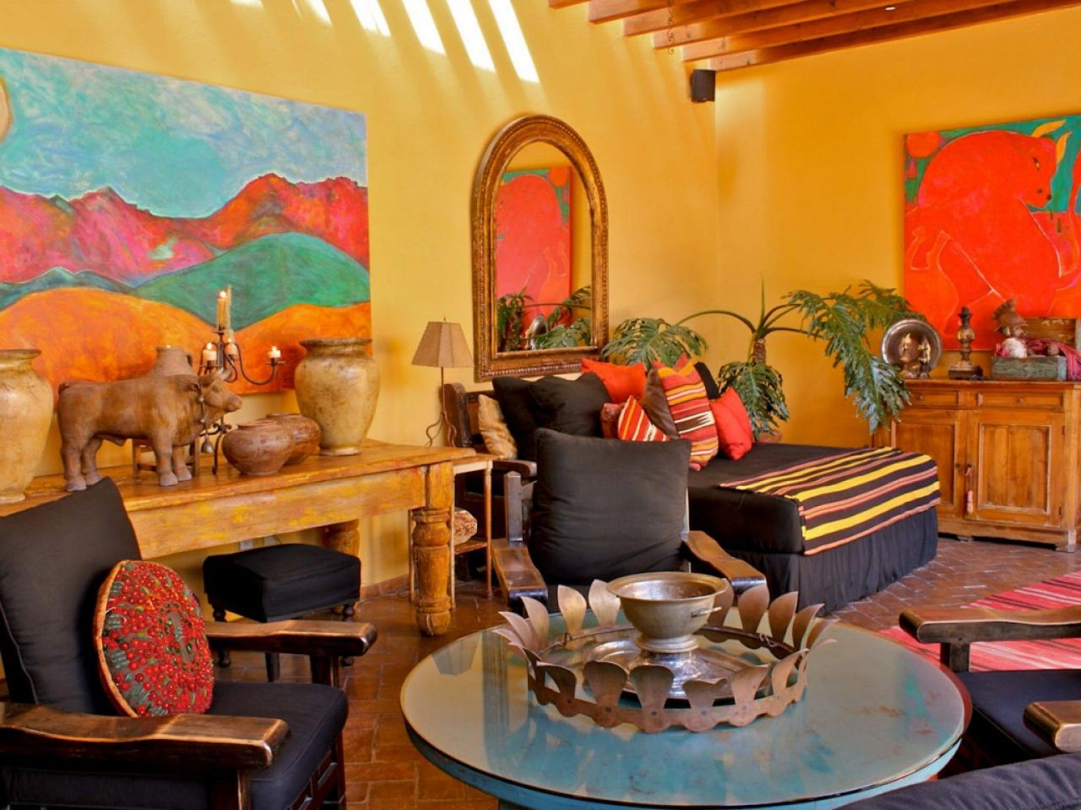 Love the colors and bold art! | Mexican style homes ...