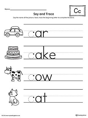 say and trace letter c beginning sound words worksheet phonics letter c worksheets letter. Black Bedroom Furniture Sets. Home Design Ideas