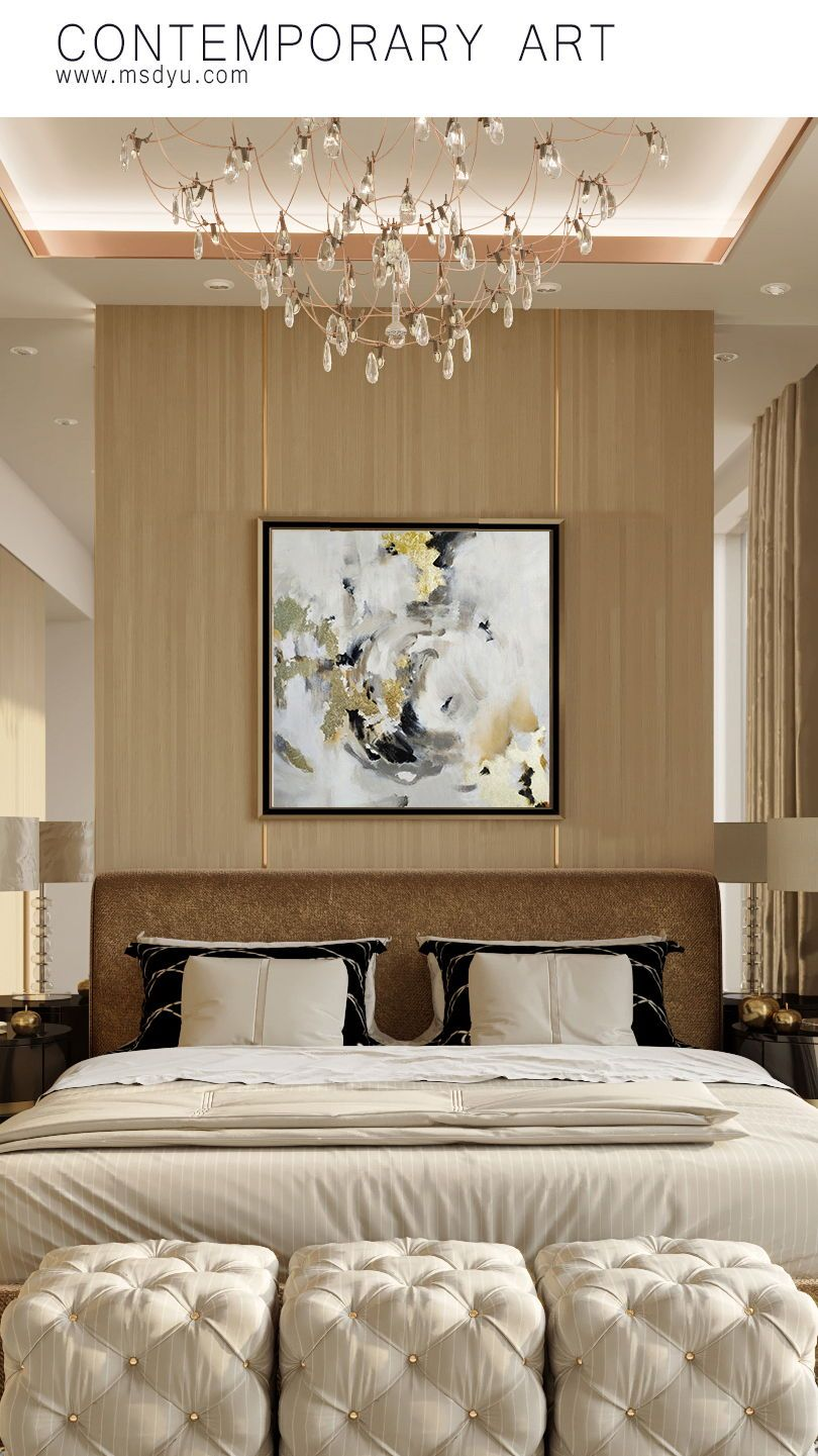 Luxury modern bedroom oil painting decor for hanging above