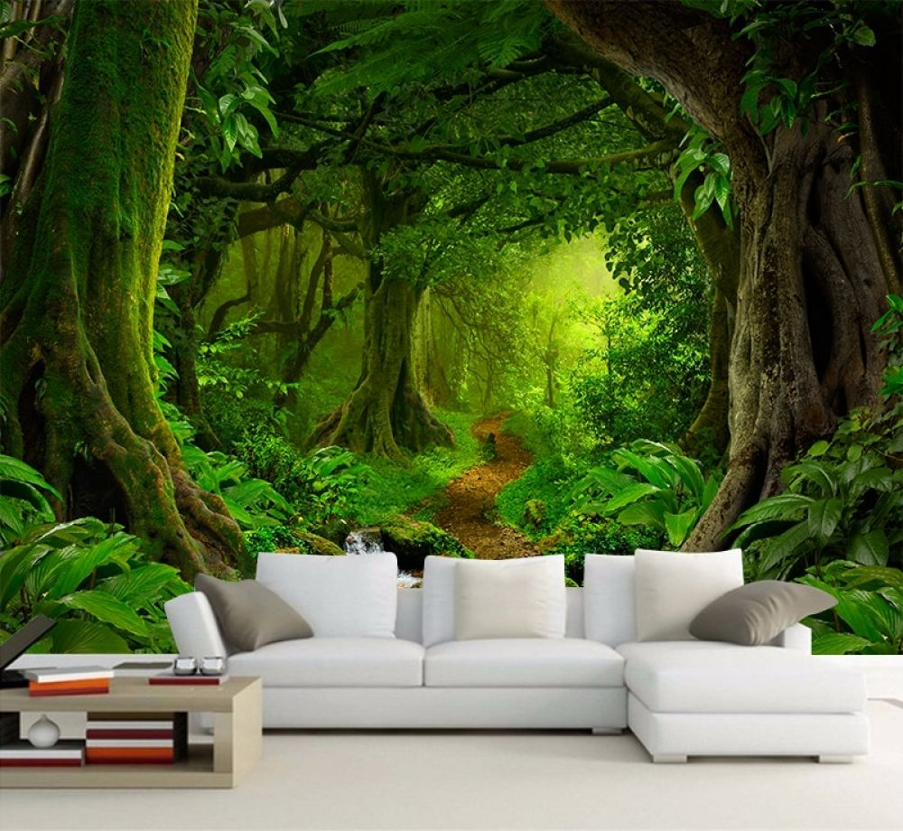 Custom Wallpaper 3d Tropics Forests Waterfall Trees Jungle Nature Modern Forest Path Wall Sticker Living Room Bedroom Mural Decoracion De Unas Walle
