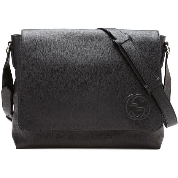 Gucci Soho Men's Leather Messenger Bag ($1,750) ❤ liked on Polyvore  featuring men's fashion, men's bags, men's messenger bags, black, men bags  messenger ...