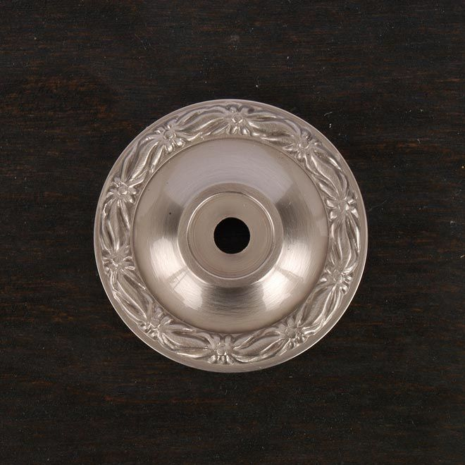 This satin nickel finish cabinet knob backplate with large flat ...