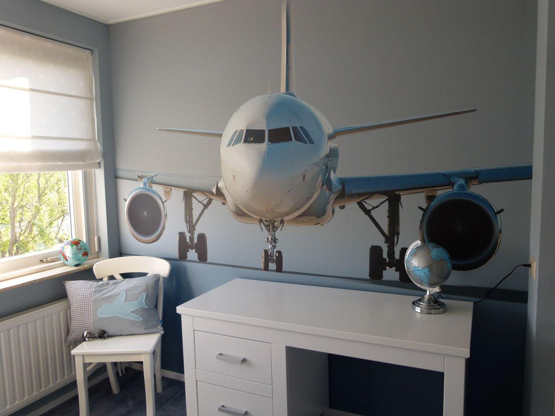 Vliegtuig kinderkamer jongenskamer behang kinderkamer jongen grijs nursery boy gray - Modern behang voor volwassen kamer ...