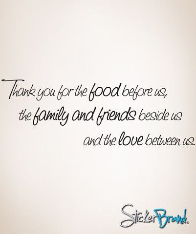Vinyl Wall Decal Sticker Quote Thank you for the Food before us