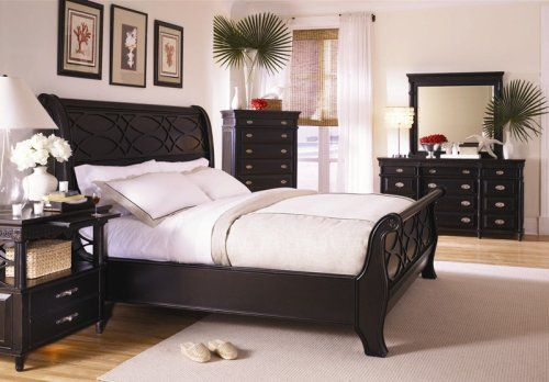 New Black King Sleigh Bed Master Bedroom Furniture Set: King ...