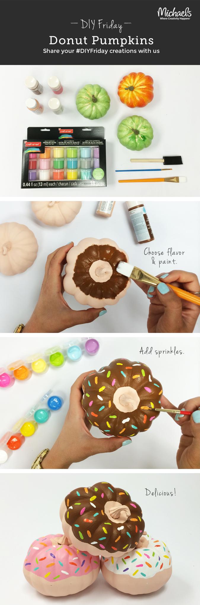 diy painted donut mini pumpkins crafting diy pinterest mini pumpkins donuts and minis. Black Bedroom Furniture Sets. Home Design Ideas