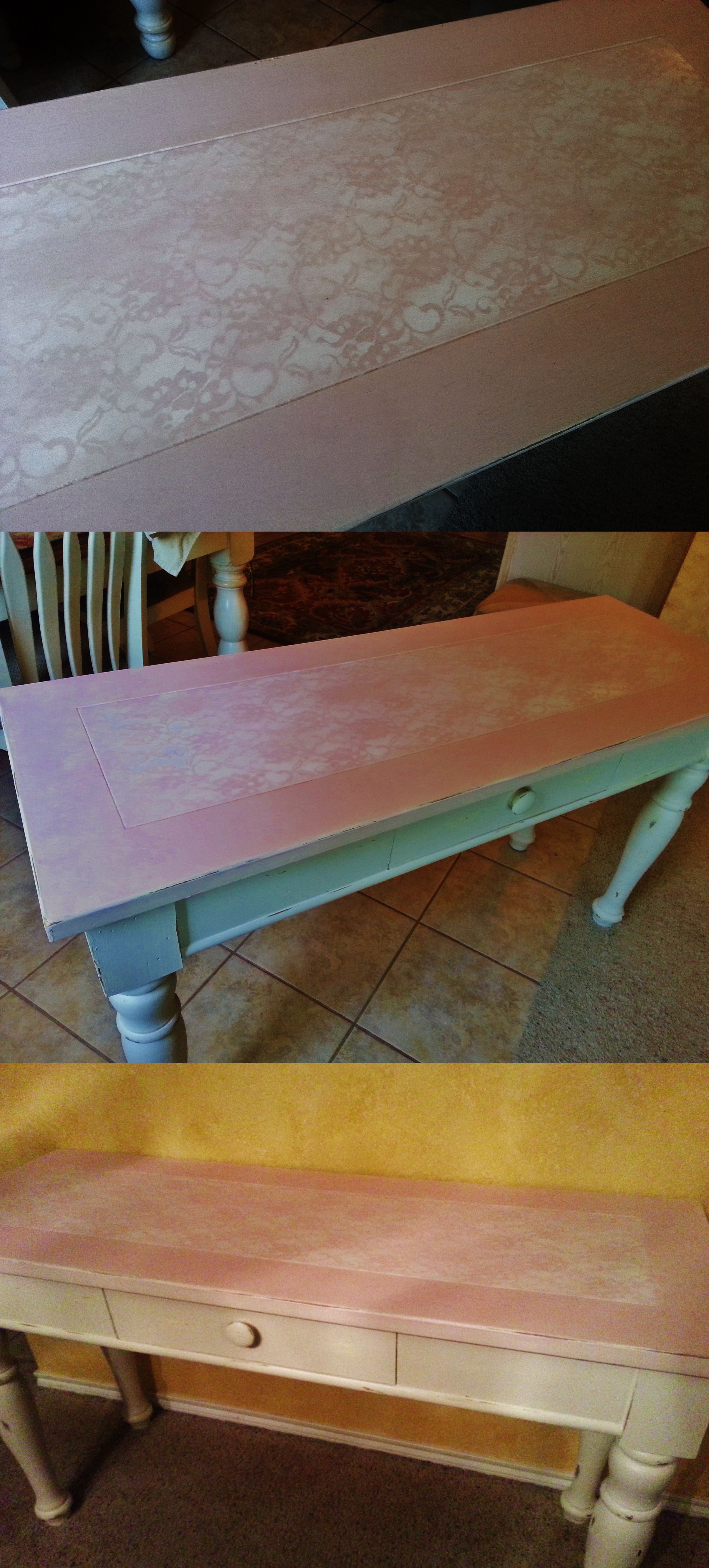 Broyhill Fontana Sofa Table Makeover With Diy Chalk Paint Lace And White Spray Paint Diy Chalk Paint Table Makeover White Spray Paint