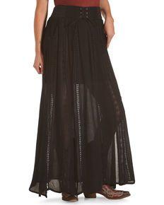 2bcc8df3f1d Shyanne Women s Belted Lace Black Maxi Skirt