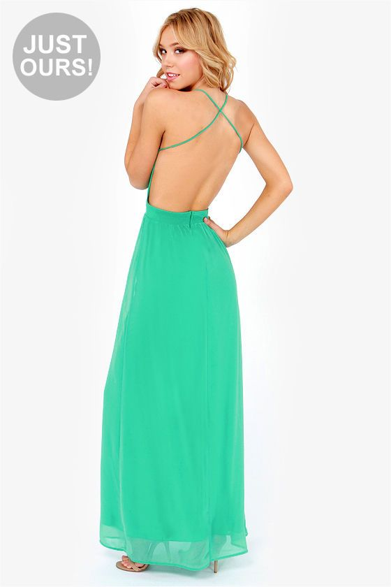 Legergroene Maxi Jurk.Exclusive Rooftop Garden Backless Sea Green Maxi Dress My Style