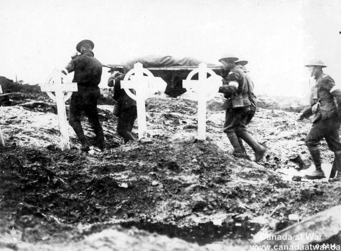 The Injured and the Dead - A wounded Canadian soldier being carried from the front past several grave markers. CWM 19930013-477