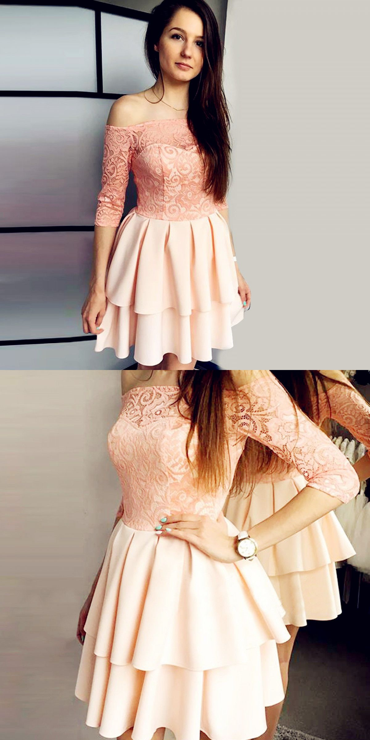 Off the shoulder sleeves pink short homecoming dress with lace