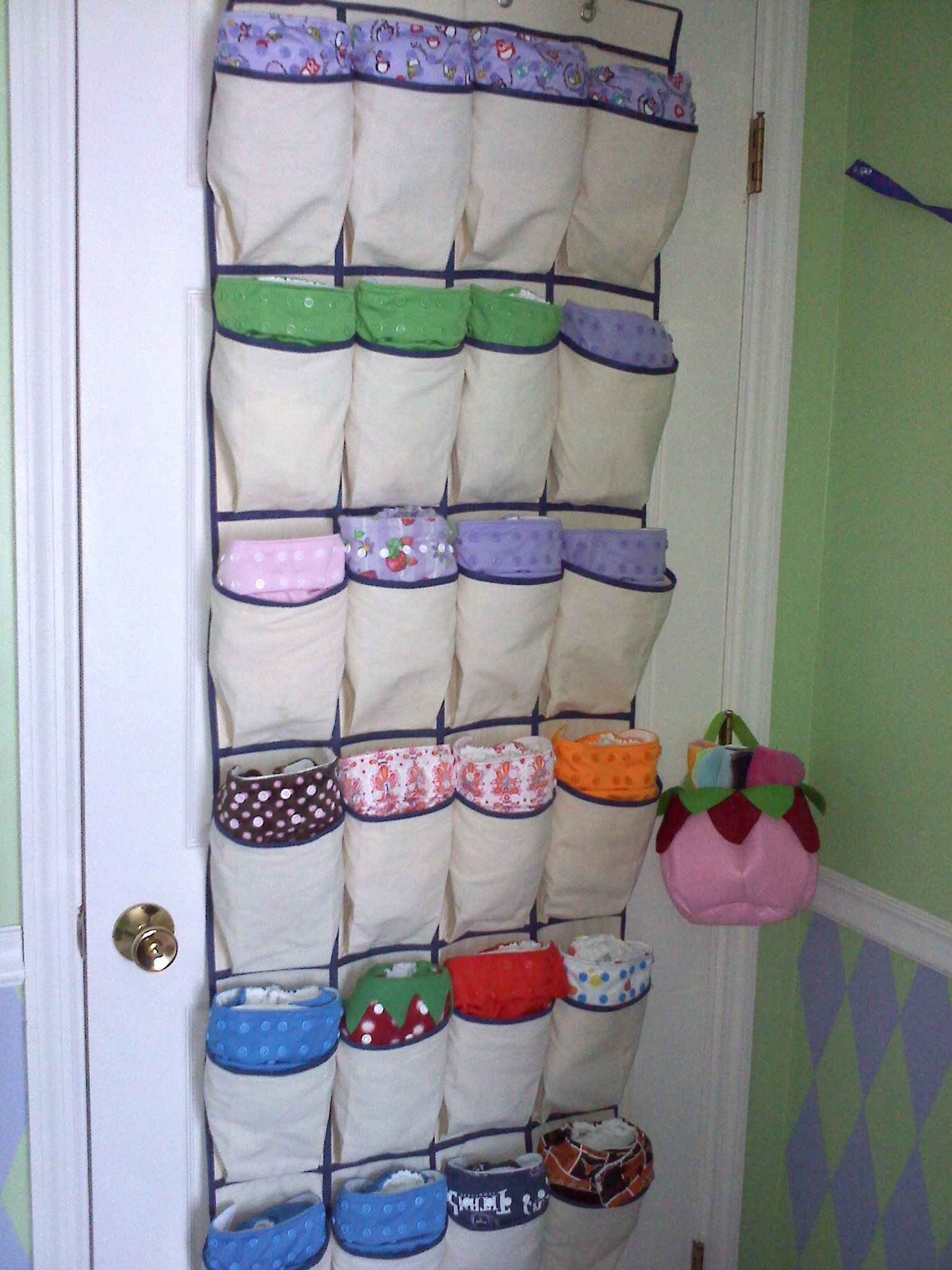 Cloth Diaper Storage An Over The Door Shoe Hanger For The Dipes