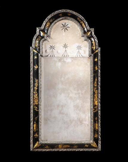 A rare William & Mary period japanned silver and gilt mirror ; English, circa 1695. The original divided plate engraved at the centre with a star over a scalloped edge with further star engravings; the conforming frame with inner and outer silver gilt mouldings of gadrooning and stylised flowers, with an inner cushion frame japanned with scenes of birds, figures in an ornamental landscape and floral sprays - Dim: Height: 4 ft 4 ½ in (133.5cm) Width: 26 in (66cm)