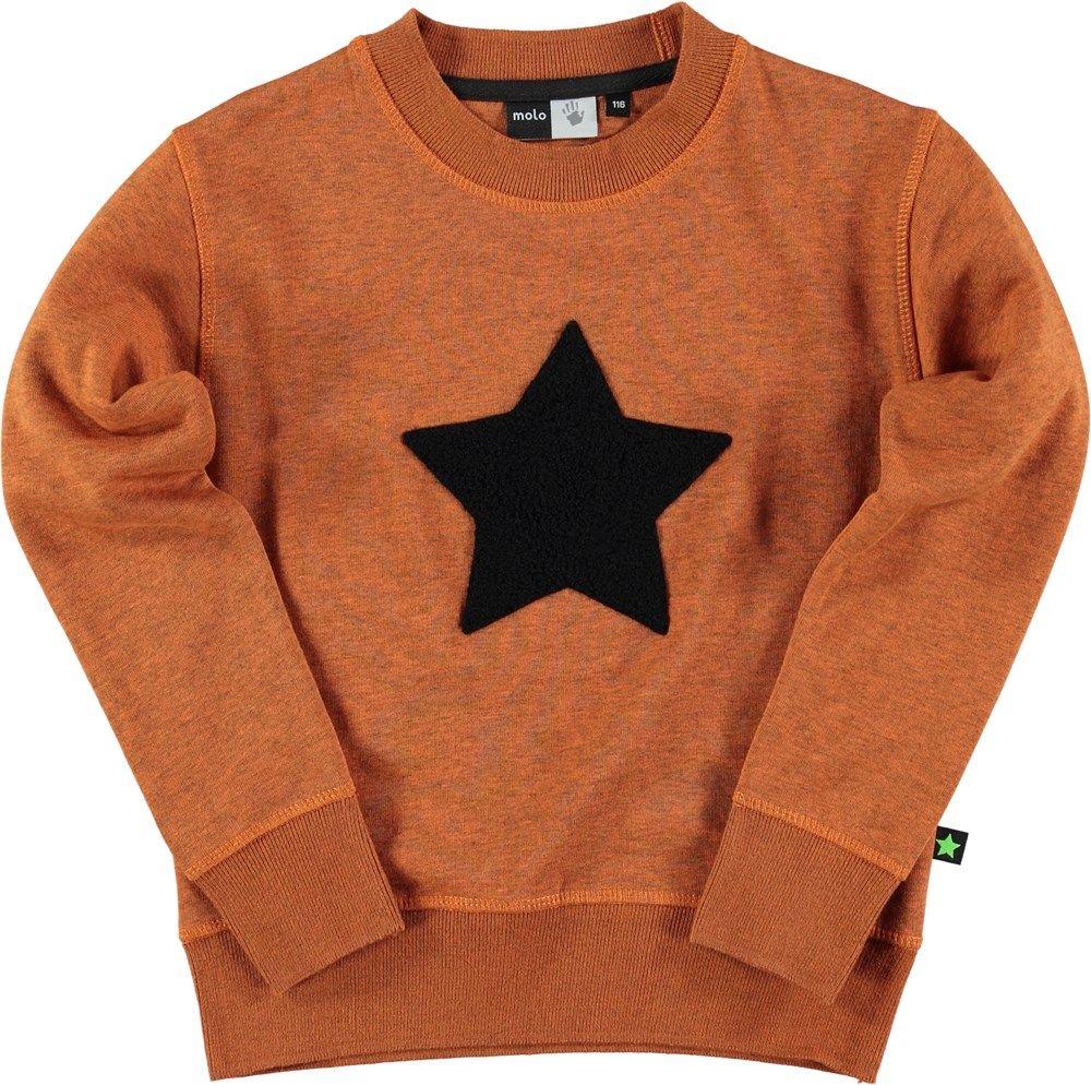 Mortimer Burnt Orange Molo Long Sleeve Sweat With Star Print Sweatshirts Long Sleeve Sweatshirts Kids Sweater [ 994 x 1000 Pixel ]