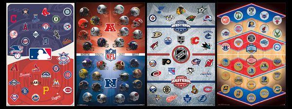Combo The Pro Sports Universe Nfl Mlb Nhl Nba Logos All Team