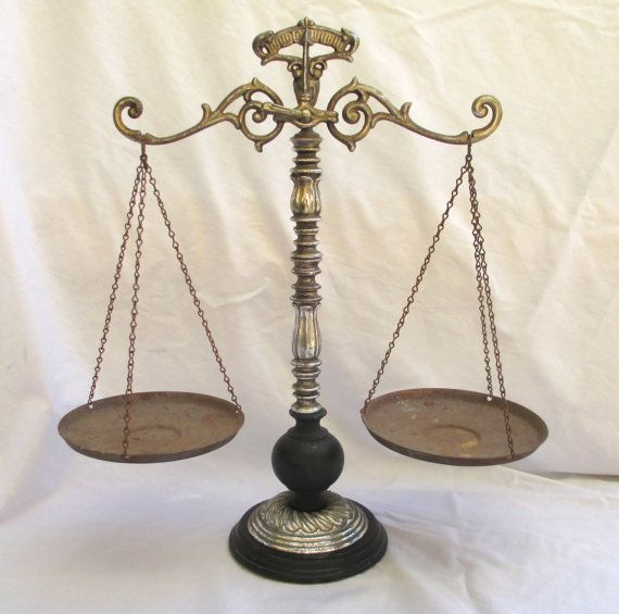 RESERVED FOR NEALE Vintage Scale of Justice Balance Scale Standing Brass  Wood Metal Decorative Top