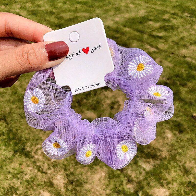 tan chiffon flower with lace band