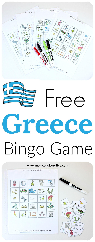 Free Greece Bingo Printable Activity For Kids