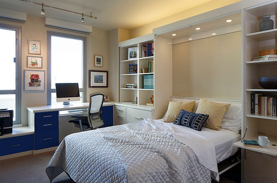 25 Versatile Home Offices That Double As Gorgeous Guest Rooms Guest Bedroom Office Guest Room Office Small Guest Rooms
