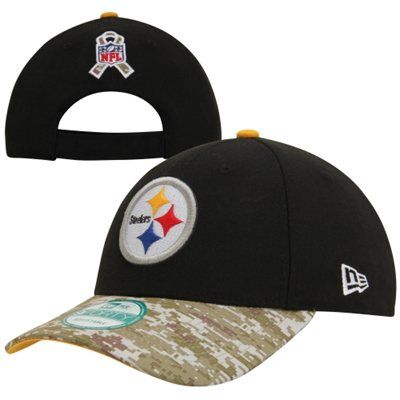 New Era Pittsburgh Steelers Salute to Service 9FORTY Adjustable Hat - Black/Digital Camo #salutetoservice