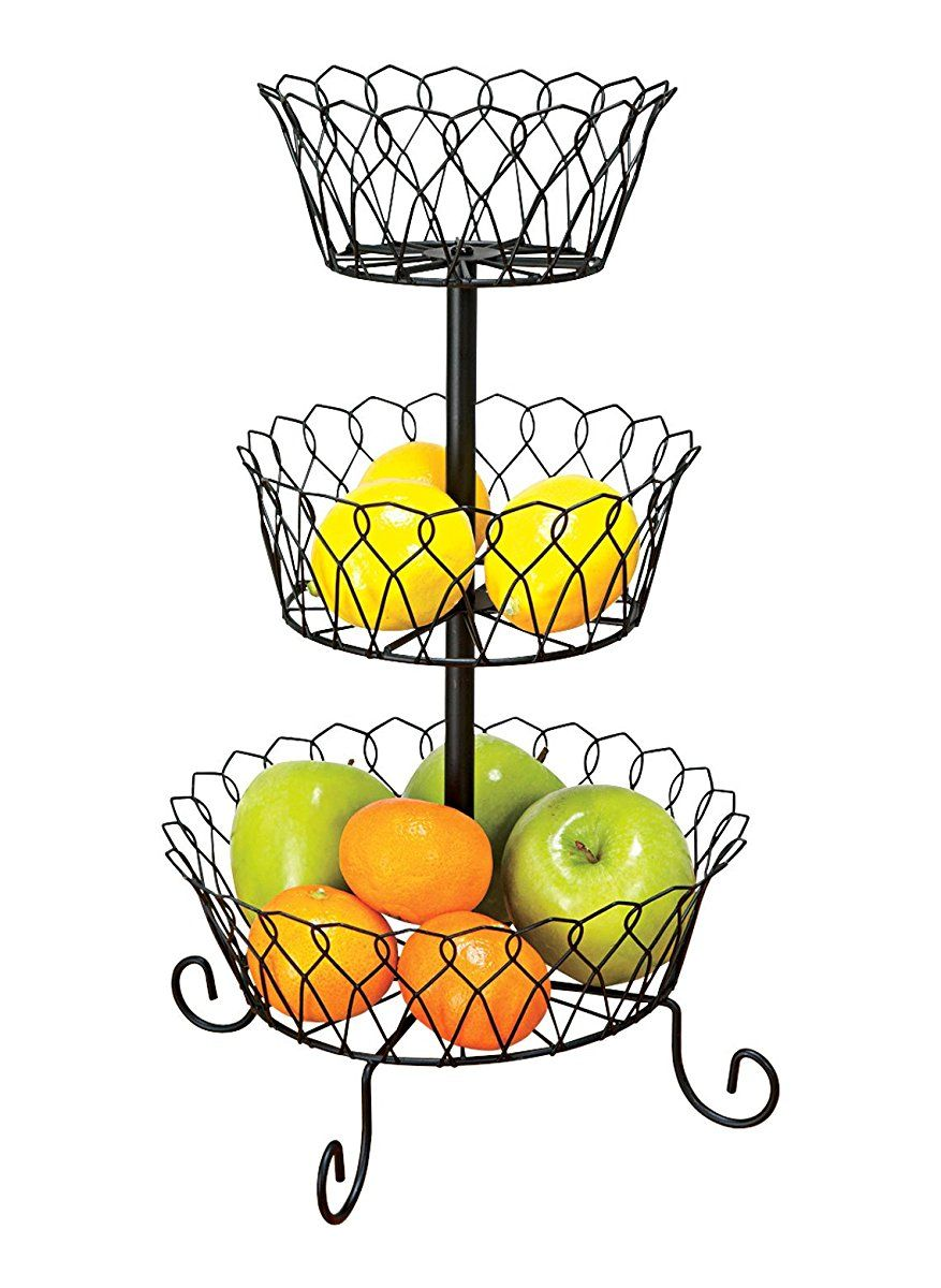 Wire Basket: Three Tier Decorative Wire Basket Holds Fruits, Vegetables,  Dried Flowers And Other Decorative Items. Wire Baskets Are Connected By A  Sturdy ...