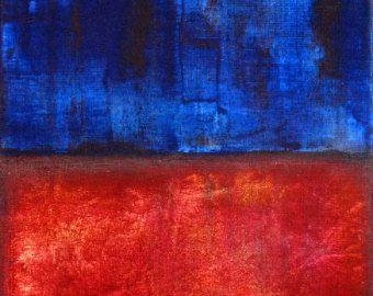 Rouge Bleu Peinture Originale D Art Abstrait Par Todd Young 8x10