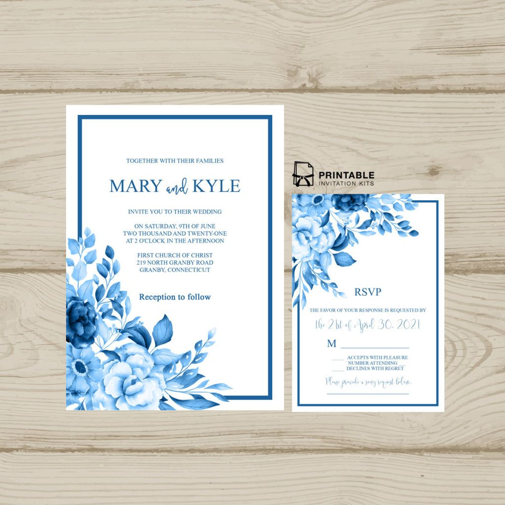 Vintage Wedding Invitation For Diy Brides Blue Wedding Invitations Modern Wedding Invitation Wording Wedding Invitation Templates