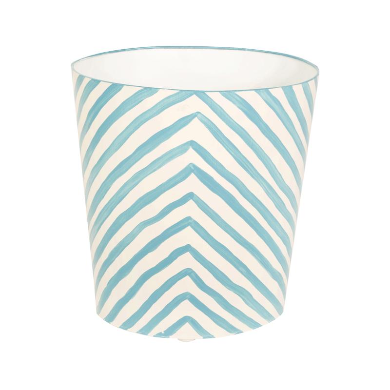 Blue Stripe Wastebasket