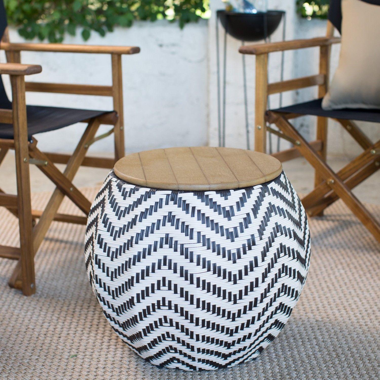 Belham Living Mayotte Chevron Aluminum Wicker Outdoor Storage Table Outdoor Wicker Furniture Outdoor Storage Outdoor