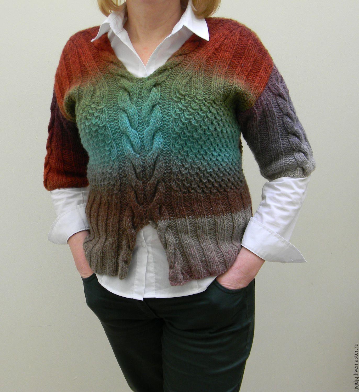 Купить Кофточка тёплая - 100% шерсть, дундага, многоцветная, теплая одежда, зима, осень