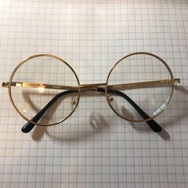 1506cfc19e587 Super cute real vintage gold round glasses. (Clear lenses!) Brand new with  no flaws. Perfect for that ~art hoe aesthetic~ ✨ - Depop