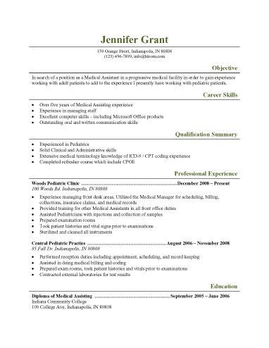 Resume Examples Medical Assistant Pediatricmedicalassistant  Work Work Work  Pinterest  Medical