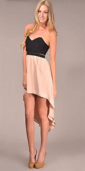 Jennifer Hope - Strapless Cut Out High Low Dress - Black/ Nude.